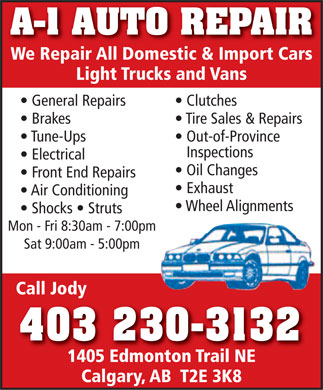 Auto Repair Flyers on Auto Repair  403 230 3132    Display Ad   A 1 Auto Repair We Repair