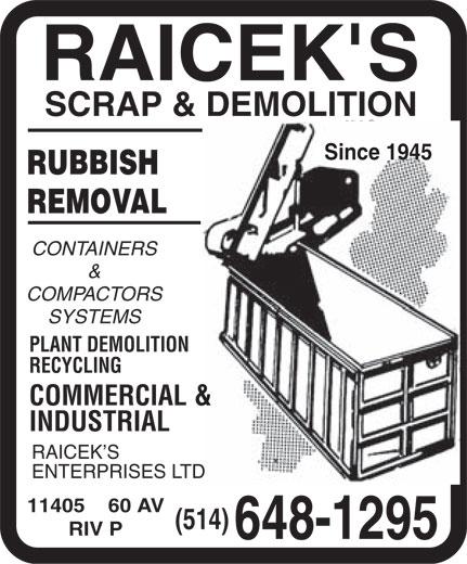 Raicek S Scrap Amp Demolition Inc Montr 233 Al Qc 11405