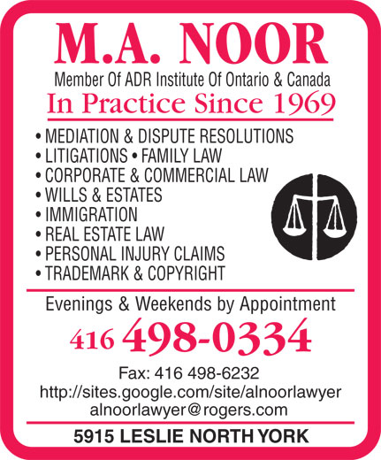 Noor M A (416-498-0334) - Annonce illustrée======= -