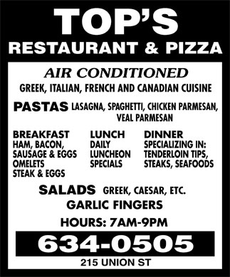 Top's Pizza & Restaurant (506-634-0505) - Annonce illustrée======= -