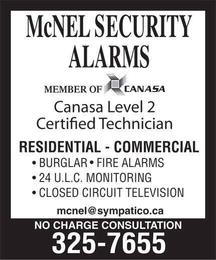 McNel Security Alarms (705-325-7655) - Annonce illustrée======= -