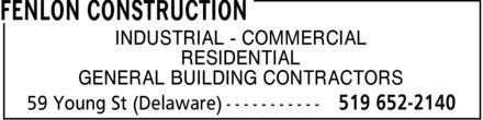 Fenlon Construction (519-652-2140) - Annonce illustrée======= -
