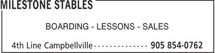 Milestone Stables (905-854-0762) - Annonce illustrée======= - BOARDING - LESSONS - SALES