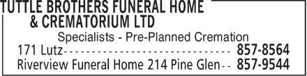 Tuttle Brothers Funeral Home & Crematorium Ltd (506-857-8564) - Annonce illustrée======= -