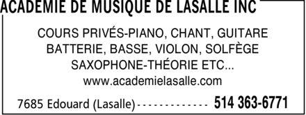Académie De Musique De LaSalle Inc (514-363-6771) - Annonce illustrée======= - COURS PRIVÉS-PIANO, CHANT, GUITARE BATTERIE, BASSE, VIOLON, SOLFÈGE SAXOPHONE-THÉORIE ETC... www.academielasalle.com