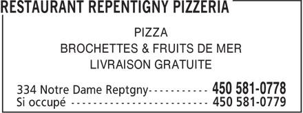 Pizzeria Repentigny (450-581-0778) - Annonce illustrée======= - PIZZA BROCHETTES & FRUITS DE MER LIVRAISON GRATUITE