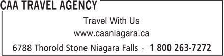 CAA Agence de Voyages (905-357-0001) - Annonce illustrée======= - www.caaniagara.ca Travel With Us