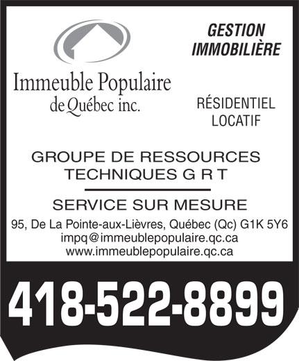 Immeuble Populaire de Québec Inc (418-522-8899) - Annonce illustrée======= -