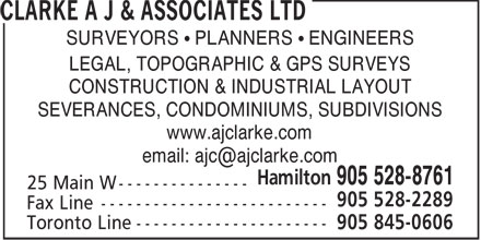 Clarke A J & Associates Ltd (905-528-8761) - Annonce illustrée======= - SURVEYORS • PLANNERS • ENGINEERS LEGAL, TOPOGRAPHIC & GPS SURVEYS CONSTRUCTION & INDUSTRIAL LAYOUT SEVERANCES, CONDOMINIUMS, SUBDIVISIONS www.ajclarke.com SURVEYORS • PLANNERS • ENGINEERS LEGAL, TOPOGRAPHIC & GPS SURVEYS CONSTRUCTION & INDUSTRIAL LAYOUT SEVERANCES, CONDOMINIUMS, SUBDIVISIONS www.ajclarke.com