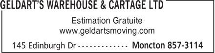 Geldart's Warehouse & Cartage (506-857-3114) - Annonce illustrée======= - www.geldartsmoving.com Estimation Gratuite