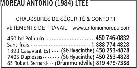 Antonio Moreau (1984) Ltée (450-746-0832) - Annonce illustrée======= - CHAUSSURES DE SÉCURITÉ & CONFORT VÊTEMENTS DE TRAVAIL www.antoniomoreau.com (St-Hyacinthe) 450 253-4828