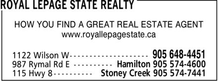 Royal LePage State Realty (905-648-4451) - Display Ad - HOW YOU FIND A GREAT REAL ESTATE AGENT www.royallepagestate.ca