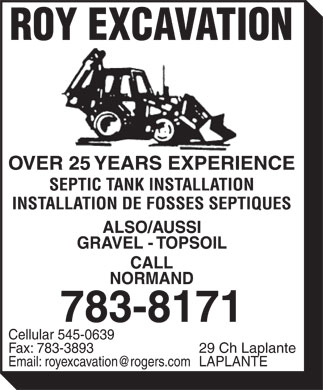 Roy Excavation (506-783-8171) - Display Ad -
