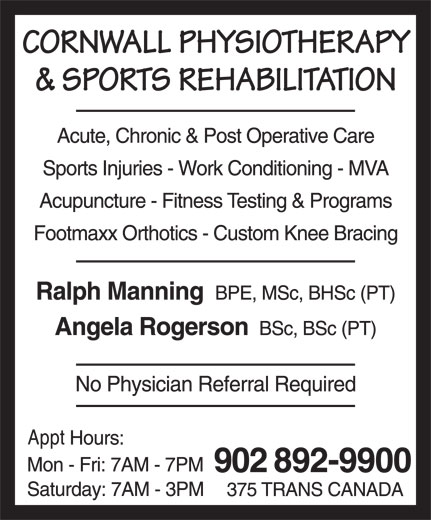 Cornwall Physiotherapy & Sports Rehabilitation (902-892-9900) - Annonce illustrée======= -