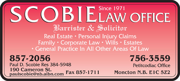 Scobie Law Office (506-857-2056) - Annonce illustrée======= -