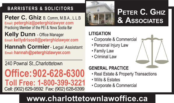 Ghiz Peter C (902-628-6300) - Annonce illustrée======= - Hannah Cormier - Legal Assistant