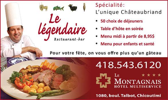 Le Légendaire Restaurant Bar (418-543-6120) - Annonce illustrée======= -