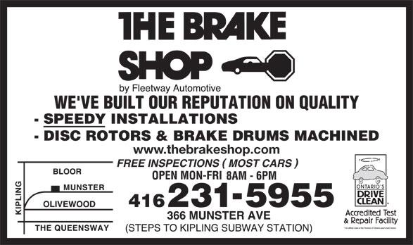 The Brake Shop (416-231-5955) - Display Ad - www.thebrakeshop.com