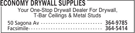 Economy Drywall Supplies (709-364-9785) - Display Ad - Your One-Stop Drywall Dealer For Drywall, T-Bar Ceilings & Metal Studs