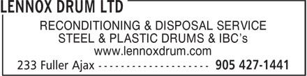 Lennox Drum Ltd (905-427-1441) - Annonce illustrée======= -