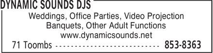 Dynamic Sounds DJs (506-853-8363) - Annonce illustrée======= - Weddings, Office Parties, Video Projection Banquets, Other Adult Functions www.dynamicsounds.net