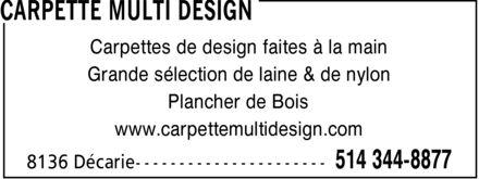 Carpette Multi Design (514-344-8877) - Display Ad -