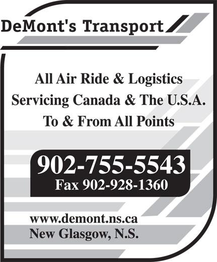DeMont's Transport (902-755-5543) - Annonce illustrée======= - 902-755-5543 Fax 902-928-1360