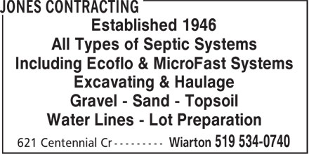 Jones Contracting (519-534-0740) - Display Ad - Established 1946 All Types of Septic Systems Including Ecoflo & MicroFast Systems Excavating & Haulage Gravel - Sand - Topsoil Water Lines - Lot Preparation