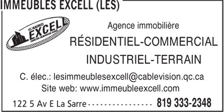 Les Immeubles Excell (819-333-2348) - Display Ad -