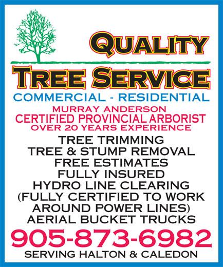 Quality Tree Service (905-873-6982) - Display Ad -