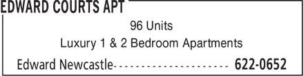 Edward Courts Apt (506-622-0652) - Annonce illustrée======= - 96 Units Luxury 1 & 2 Bedroom Apartments