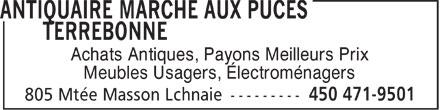 Marché aux Puces Terrebonne (450-471-9501) - Annonce illustrée======= - Achats Antiques, Payons Meilleurs Prix Meubles Usagers, Électroménagers