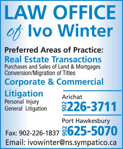 Law office of Ivo Winter (902-226-3711) - Annonce illustrée======= - Conversion/Migration of Titles