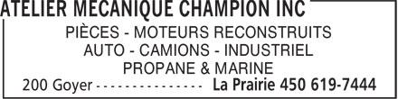 Atelier Mécanique Champion (450-619-7444) - Annonce illustrée======= - PIÈCES - MOTEURS RECONSTRUITS AUTO - CAMIONS - INDUSTRIEL PROPANE & MARINE PIÈCES - MOTEURS RECONSTRUITS AUTO - CAMIONS - INDUSTRIEL PROPANE & MARINE