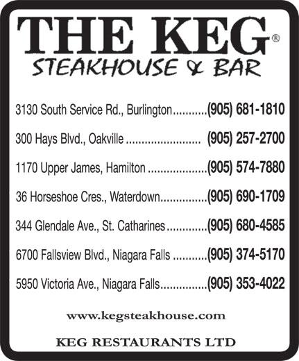 The Keg Steakhouse & Bar (905-681-1810) - Display Ad -