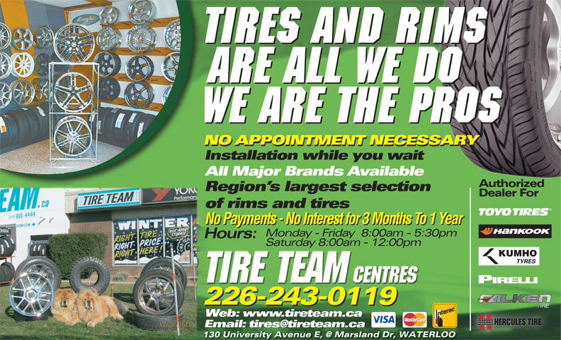 tire team centres 130 university ave e waterloo on