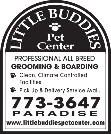 Little Buddies Dog & Cat Boarding & Grooming (709-773-3647) - Display Ad - PROFESSIONAL ALL BREED GROOMING & BOARDING Clean, Climate Controlled Facilities Pick Up & Delivery Service Avail. www.littlebuddiespetcenter.com