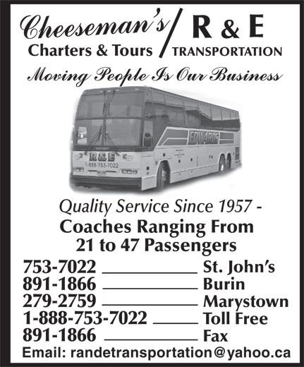 R & E Transportation (709-753-7022) - Display Ad -