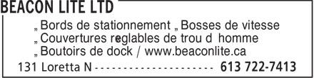 Beacon Lite Ltd (613-722-7413) - Annonce illustrée======= - • Bords de stationnement • Bosses de vitesse • Couvertures réglables de trou d'homme • Boutoirs de dock / www.beaconlite.ca
