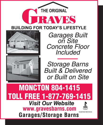 Graves Barns & Buildings Ltd (506-855-8550) - Display Ad - MONCTON 804-1415 TOLL FREE 1-877-769-1415