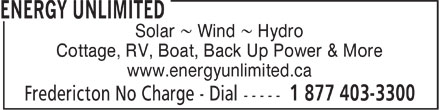 Energy Unlimited - Annonce illustrée======= - Solar 8 Wind 8 Hydro Cottage, RV, Boat, Back Up Power & More www.energyunlimited.ca  Solar 8 Wind 8 Hydro Cottage, RV, Boat, Back Up Power & More www.energyunlimited.ca  Solar 8 Wind 8 Hydro Cottage, RV, Boat, Back Up Power & More www.energyunlimited.ca
