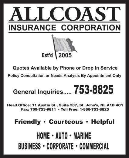 Allcoast Insurance Corporation (709-753-8825) - Annonce illustrée======= - Est d