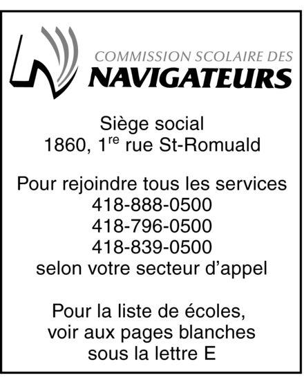 Commission scolaire des Navigateurs (418-839-0500) - Display Ad -
