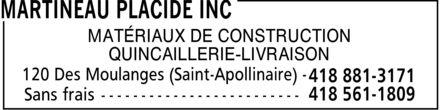 Martineau Placide Inc (418-881-3171) - Annonce illustrée======= - MATÉRIAUX DE CONSTRUCTION QUINCAILLERIE-LIVRAISON 120 Des Moulanges (Saint-Apollinaire)