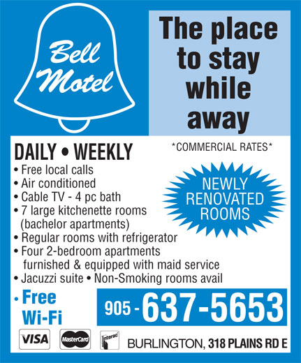 Bell Motel (905-637-5653) - Display Ad -