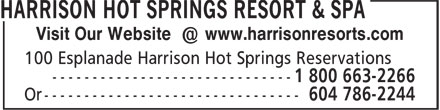Harrison Hot Springs Resort & Spa (604-796-2244) - Annonce illustrée======= - Visit Our Website @ www.harrisonresorts.com