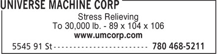 UMW Valve (780-468-5211) - Display Ad - Stress Relieving To 30,000 lb. - 89 x 104 x 106 www.umcorp.com