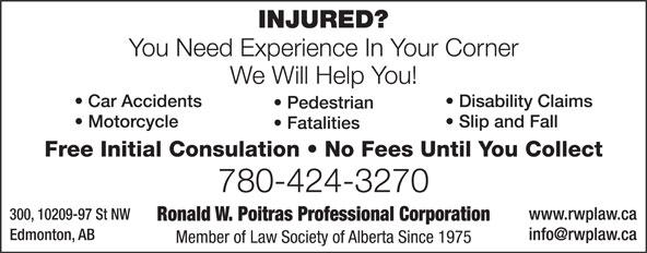Poitras Ronald W Professional Corporation (780-424-3270) - Display Ad -