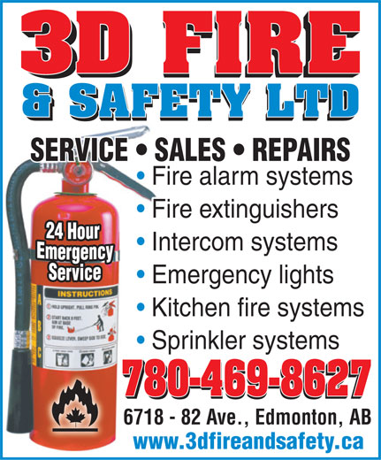 3D Fire & Safety Ltd (780-469-8627) - Annonce illustrée======= -