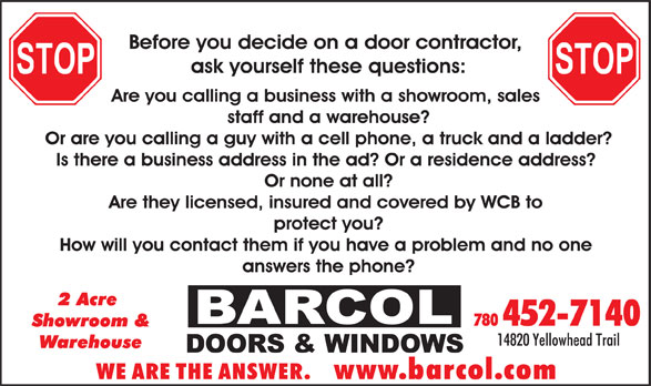 Barcol Doors & Windows (780-452-7140) - Display Ad -